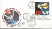 Flown covers with STS-8, 0rig.signed by Bluford, totally flown 266,000 covers, used the new Space stamp  9,35 US$ for Express mail next day issued 12.8.1983 , excisting in two side imperforate and three side imperforate