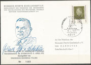 Germany, flown card issued 1.250 items, frontside Tilling portrait and orig. signed by Gisbert Freiherr von Ledebur, coworker and sponsor of Tilling, backside picture of the launch of the Tilling rocket 1931