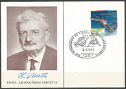 Postcard orig.signed by Hermann Oberth before he died 28.12.1989, with stamp of probe ERS-1 from Germayn and cancel from 08.06.1991 with Apollo 11 due to the Weltfahrtkongress HOG June 1991 in Gosen