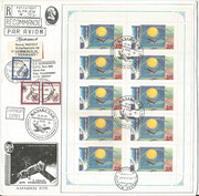 Kasachstan 86, Sojus TM 19 and TM 20, minisheet of 10 stamps on R-cover issued 500 times,