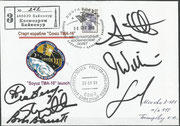 Sojus TMA-16 lauch cover, orig.signed by complete crew and complete backup crew