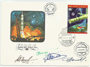 CCCP,Sojus TM 10 flown cover to MIR, orig signed by Sojus TM10 crew G.Manakov and G.Strekalov and MIR main expedition crew A.Solovyov and A.Baladin with 4728