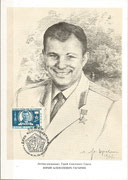 Yuri Gagarin portrait card from artist with stamp CCCP M2473 and cancel