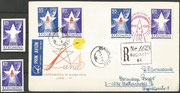 Romania issued 1963 two stamps related to the Luna 4 mission. On 100 items of the imperforate stamp 1.75 Lei the red Luna printing are missing. May be there is existing only one cover with R-mail worldwide where the red Luna missing stamp has been used.
