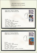 Russia, BURAN-mission, 2 mission-covers from first test flight  launched 10.11.1985 and taxi test dated  15.11.1985