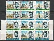 Qatar 128/133 A and B, perforate and imperforate as strips of each 3 stamps, mnh
