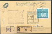 Austria,honoring the first rocket trials from Friedrich Schmiedl, cover (reg. mail)  from 03.02.1971 with orig. signature from Schmiedl,