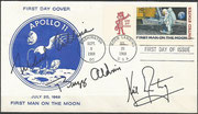 9.9.1969, the US post office issued an stamp honoring the first manned moonlanding mission, autopen sigend complete crew Apollo 11