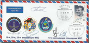 Cover with undocking cancel Sojus TMA-14 from ISS and docking cancel Sojus TMA-16 to ISS, orig.signed by complete crew Sojus TMA-15 and Barrett and Padalka from Sojus TMA-14