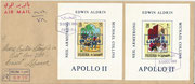 Fujeira, complete set of 12 values overprinted in blued on epreuve de luxe sheetlets, impeforate, stories from 1001 nights with overprint Apollo 11, on FDC, 25 items issued