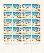 Qatar not issued full sheet Yuri Gagarin and Valentina Tereschkowa from 1966, only 5 full sheets are existing, very rare!!