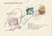 Yuri Gagarin and Valentina Tereschkowa original signatures on sent cover/ FDC ( with DDR 993 and 700)