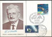 Postcard orig.signed by Hermann Oberth before he died 28.12.1989, with stamp of probe ERS-1 from Germayn and cancel from 08.06.1991 Apollo 11 due to the Weltfahrtkongress HOG June 1991 in Gosen and stamp Giotto and cancel 28.12.1999 10 years death Oberth