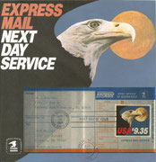 Express mail ,first day of issue 12.8.1983 new US stamp with 9,35 US$ value for the Express mail next day service until 900 g weght for the letter, 3500 postoffices joined this service