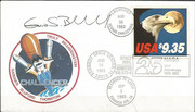 Flown covers with STS-8, orig.signed by Bluford, totally flown 266,000 covers, used the new Space stamp  9,35 US$ for Express mail next day issued 12.8.1983 , excisting in two side imperforate and three side imperforate