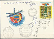 Flown cover to Saljut 6 station and orig. signed by complete crew Sojus 31