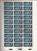 CCCP, Sojus 17 full sheet 4343 with plate error 28. stamp in sheet blue dot after Sojus-17, see next scan
