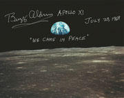 Earthrising from the moon with personal remarks and orig. handsigned by Buzz Aldrin (Moonwalker, Apollo11)
