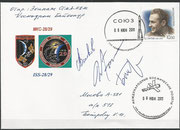 Sojus TMA-02M, ISS expeditions misions 28 and 29 cover orig.signed by complete crew Wolkow, Fossum and Furukawa