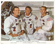 NASA Litho from Apollo 7 crew autopen signed by complete crew