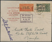 Rocketflight N0.65, David Ezra, dated 29.06.1935, 189 cards flown and orig.signed by Smith, first flight of vertebrates (Live Stock), the cock Adam and the hen Eva have been flown