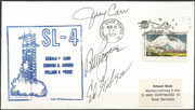 Launch cover Skylab 4 orig. signed by complete crew, KSC cachet ca. 6000 issued
