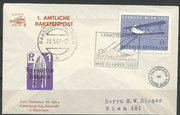 Austria, flown cover 1st official rocket mail austria, dated 23.05.1961, total 12 rockets with 10.550 flown covers, 900 crashed
