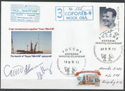 Sojus TMA-01M, launch cover orig.signed by complete crew Skripotschlka, Kaleri and Kelly