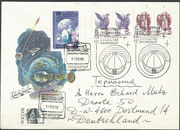 17.3.1992, launch cover Sojus TM-14 with the new overprinted stamps Kasakstan 3,4,5 and 6, postallic used to Germany