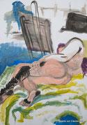Liegende, 70x100, Acryl auf Papier, 2014