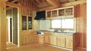 木製で設えた台所。