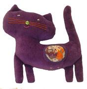 Gato morado Hippybottomus Suisse pañales de tela juguetes pedagógicos