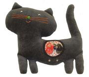 Gato gris Hippybottomus Suisse pañales de tela juguetes pedagógicos