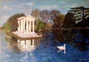 IL LAGHETTO DI VILLA BORGHESE (olio su tela 35 x 50) [THE LAKE OF VILLA BORGHESE oil on canvas 35 x 50]