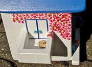 Houten Nestkastje , Grieks Nestkastje met Balkon , Details, Vogelhuisje bouwen ,  Grieks vogelhuisje met balkon , Huisjes details_6