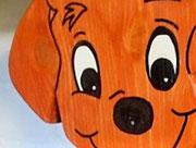 Houten Nestkastje Hond, licht bruin, Details, Vogelhuisje bouwen, eindresultaat, kop