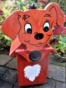 Houten Nestkastje Hond, licht bruin, Details, Vogelhuisje bouwen, eindresultaat