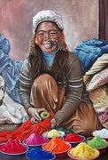 Farben für das Blumenfest - Nepal