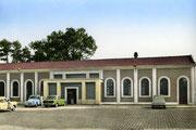 La gare après sa première rénovation en 1963 avec la suppression de l'entrée monumentale. (Coll Bibliothèque de Caudry)