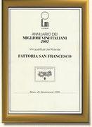 LUCA MARONI - ANNUARIO DEI MIGLIORI VINI ITALIANI 2002 - ALL'AZIENDA FATTORIA SAN FRANCESCO