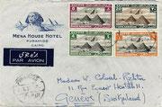 """Hier ein Unikat, ein Briefumschlag, der am 02.02.1933 10-11 Uhr gestempelt in """"Pyramids"""" also direkt an den Pyramiden, Kairo reichte zu dieser Zeit noch nicht bis an das Hotel!"""