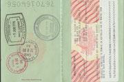 Das Visum und die Ein- und Ausreisestempel im alten Reisepass