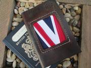 Custom leather / cotton Union Jack passport sheath