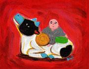 伏見人形(ふしみにんぎょう)牛乗り西行【伏見稲荷大社/京都市、伏見区】