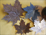 Ahornblätter, Stahl, Chromstahl und Schwazstahl