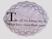 Love's Rite  -   Sonette von Shakespeare auf Tortenpapier, 1999