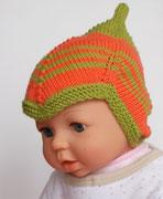 Babymütze orange grün
