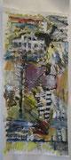 o. T., 2007, Mischtechnik auf Papier, 120 x 40 cm