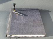 Buch in Kalbsleder mit Straussenoptik, Buchblock handgeschöpftes Büttenpaier, 100 Seiten, Buchgröße DIN A 3, Euro 169,00