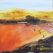 Chianti inferno, Aquarell auf Leinwand, 80x80cm, verkauft